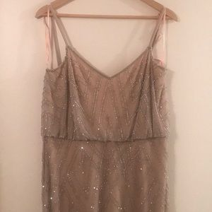 Adrianna Papell beaded silver/ nude dress